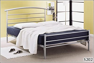 BRAND NEW 4ft 6 METAL SILVER DOUBLE BED FRAME AND SLUMBER SLEEP MEMORY FOAM MATTRESS