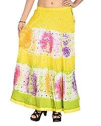 Aura Life Style Women's Cotton Bandhej Skirt (ALSK3026B, Multi , Free Size)
