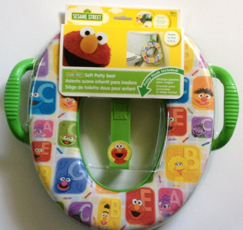 Sesame Street Soft Potty Seat with hook & handles Elmo Grover Cookie Monster ........