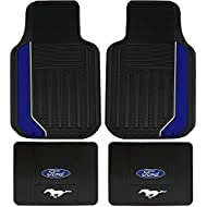 4PC Ford Mustang Black Front & Rear Rubber Floor Mats Set Universal Made in USA