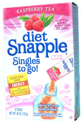 Diet Snapple Singles to Go Raspberry (6 Sticks in each box) 4 BOXES