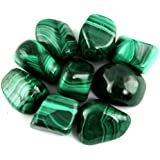 "Crystal Allies Materials: 1/2lb Bulk Tumbled Malachite Stones from South Africa - Large 1"" Natural Polished Gemstone Supplies for Wicca, Reiki, and Energy Crystal Healing *Wholesale Lot*"