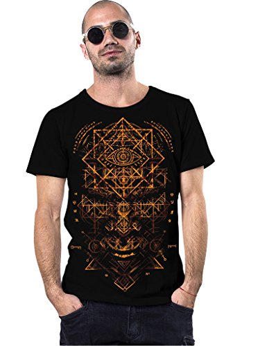 True Illuminati Crew Neck Top - 100% Cotton Regular Fit T-Shirt for Men in Black - XL