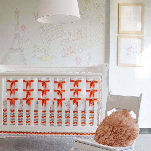 Oliver B 3 Piece City of Dreams Crib Bedding Set, Orange/Grey/White