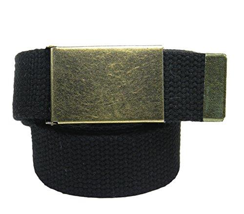 Boys School Uniform Antique Brass Belt Buckle with Canvas Web Belt Medium Black