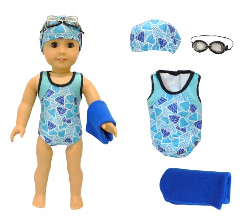 Buy Discount KHOMO ® Swimsuit Set : Swimsuit, Towel, Goggles & Cap . For American Girl and Mada...