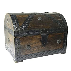 Cofre del tesoro 28x21x21cm marrón mirada de la antigüedad de madera