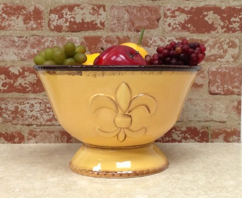 "Tuscany Colorful Hand Painted Fleur De Lis, Yellow Pedestal Fruit Bowl 10-3/4""W, 82021 By Ack front-467608"