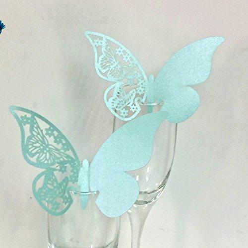 JZK® 50 x Perlato tiffany blu segnaposto segnabicchiere per matrimonio nascita battesimo comunione compleanno festa o occasioni varie, farfalla