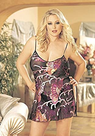 COLORFUL BUTTERFLIES ARE DEPICTED ON OUR PRINTED BURNOUT SILK CHEMISE(BLACK,1X)