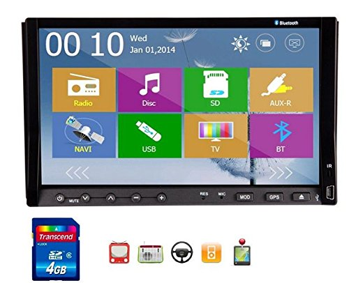 New Windows 8 Ui Design Ouku 7-Inch Double 2-Din In Dash Car Dvd Radio Stereo Player Head Deck Touchscreen Lcd Monitor With Dvd/Cd/Mp3/Mp4/Usb/Sd/Amfm/Rds/Bluetooth And Gps Navigation Rotate Menu Hd:800*480 Lcd Free Gps Antenna+Free Official Kudos Gps Map