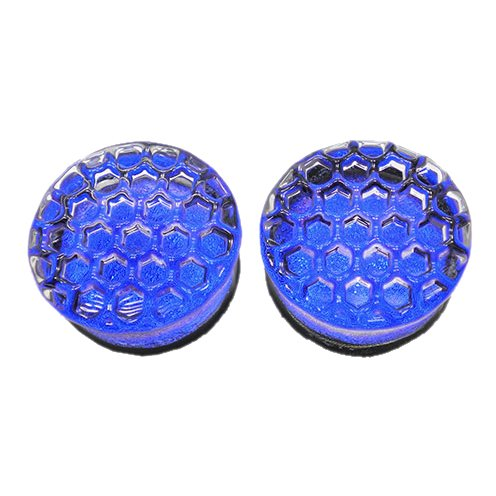 Blue Honeycomb Hand-Made Double Flared Glass Plugs -9/16