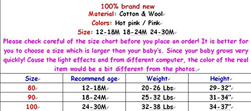 EGELEXY Baby Girls Hooded Warm Wool Cotton Jacket Trench Coat Outwear 12-18months Pink