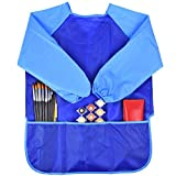 OULII Kids Art Smock Waterproof Painting Apron Long sleeved Blue