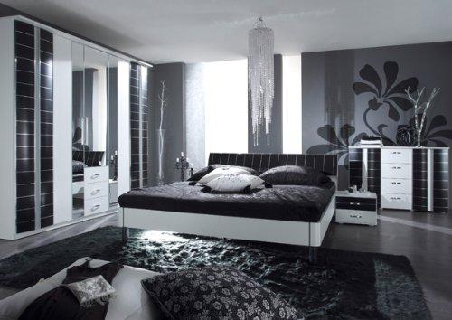 Schlafzimmer komplett 4-teilig mit Kleiderschrank weiß / schwarz (22970A-61,32, 2×22) kaufen
