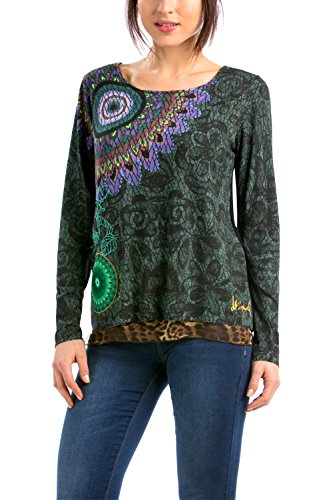 Desigual - JERS_SUPERSONIC, Maglione da donna, multicolore (verde bronce 4033), M