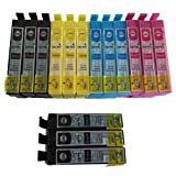 15 Double Capacity Compatible Ink Cartridges for Epson SX130 Printer 6 Black 3 Cyan 3 Magenta 3 Yellow