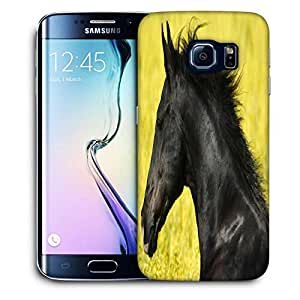 Snoogg Black Horse Printed Protective Phone Back Case Cover For Samsung Galaxy S6 EDGE / S IIIIII