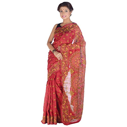 Elife Elife Red Cotton Silk Saree For Women (Multicolor)