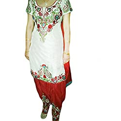 Reet Glamour Women 's Silk Unstitched White And Red Punjabi Suit
