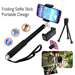 COOLNUT® Bluetooth Selfie Stick Best Combo Offer Gift Extendable Wired Selfie Handheld Stick With Adjustable Phone Holder And Bluetooth Wireless Remote Shutter For All Smartphones & Android Phones (CNCombo-1)