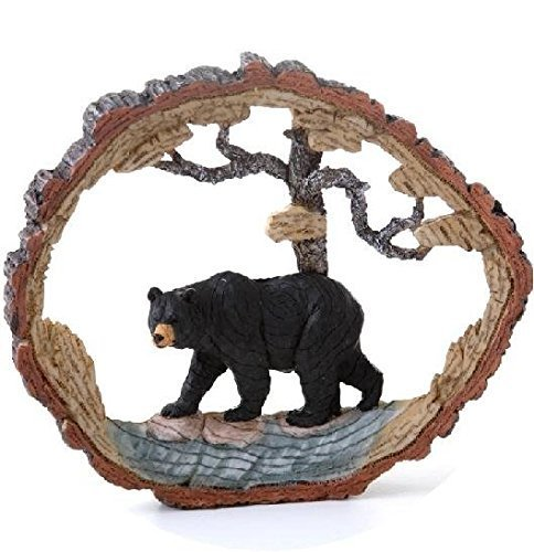 8.5 Inch Wood-Like Carving Black Bear and Tree Figurine (Wood Carving Bear compare prices)