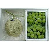 静岡産 温室マスクメロン 白級 大玉 1.5kg・岡山特産 マスカットオブアレキサンドリアぶどう1kg セット化粧箱