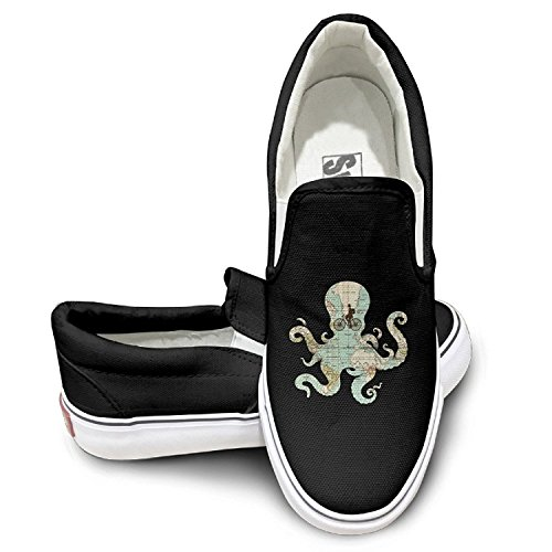 Cute Octopus ALL AROUND THE WORLD Cool Graphic Low Sneaker Skateboard Shoes