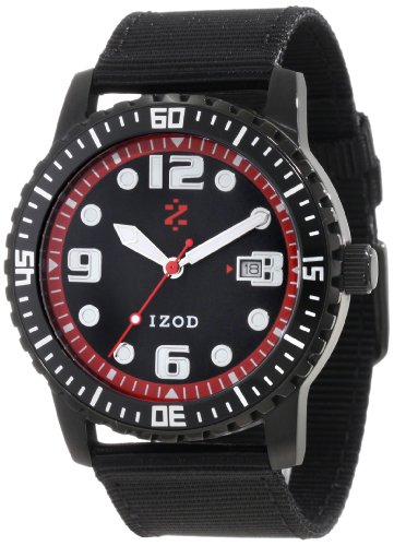 IZOD Men's IZS3/3 BLK/RED Sport Quartz 3 Hand Watch