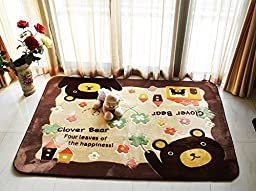 LELVA Cute Cartoon Bear Design Home Decoration Area Rugs Environmental Anti-slip Bedroom/Living Room Carpet Yoga Mat Baby Crawling Mats Kids Play Mat Machine Washable Rugs (100CM by 150CM)