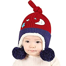 IMLECK Toddler Girl Boy Winter Lovely Double Ball Clouds Stars Pattern Embroidery Knitted Hat