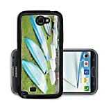 Liili Premium Samsung Galaxy Note 2 Aluminum Case Colorful Kayaks Resting on Bright Green Grass Image ID 22745008