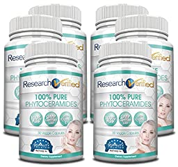 Research Verified 100% Pure Phytoceramides - 180 Capsules - 6 Month Supply - 100% Pure Wheat Extract Oil - With Vitamin E- #1 Wrinkles Fighter - 350mg - 365 Day 100% Money Back Gurantee!