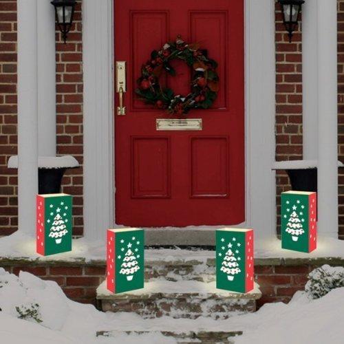 "Club Pack Of 24 Christmas Tree Design Holiday Luminaria Bags 11"""