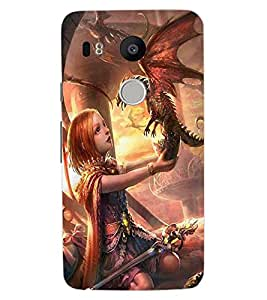 ColourCraft Cute Girl with Baby Dragon Design Back Case Cover for LG GOOGLE NEXUS 5X