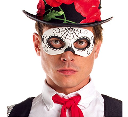 Party King Men's Day of The Dead Senor Mask Costume Accessory, Black/White, One Size