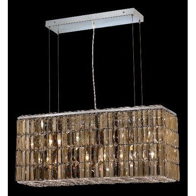 Elegant Lighting 2018D32C-GT/SS Maxim Collection 8-Light Hanging Fixture Swarovski Strass/Elements Golden Teak Crystals with Chrome Finish
