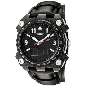 I By Invicta Men's 70970-005 Black Dial Black Leather Analog Digital Watch