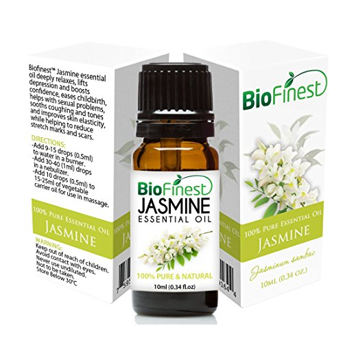 BioFinest Jasmine Essential Oil - 100% Pure Undiluted - Therapeutic Grade - Premium Quality - Best For Aromatherapy, Deep Sleep, Stretch Marks and Dry Skins - Elegant Gift & Traveling Pack (10ml)