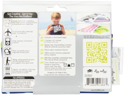 Itzy Ritzy Snack Happens Mini Reusable Snack Bag, Dino-Mite Color: Dino-Mite Toy, Kids, Play, Children front-768828