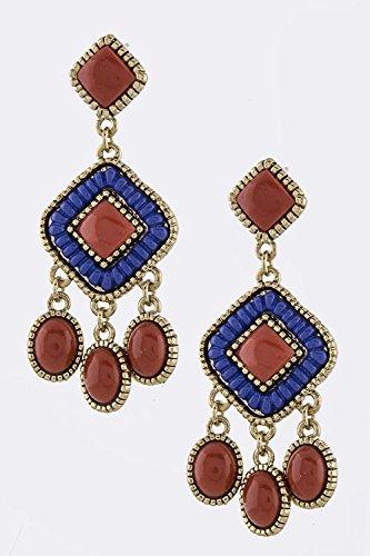 Karmas Canvas Stone Fringe Earrings (White) front-585833