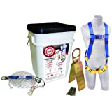 Protecta Compliance In A Can, 2199803, Roofers Kit, 5-Point Harness, Reusable Roof Anchor, Rope Grab, 50' Rope Lifeline, White Bucket