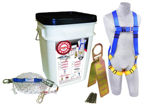 3M Protecta Compliance In A Can, 2199803, Roofers Kit, 5-Point Harness, Reusable Roof Anchor, Rope Grab, 50' Rope Lifeline, White Bucket (Roof Harness Kit compare prices)