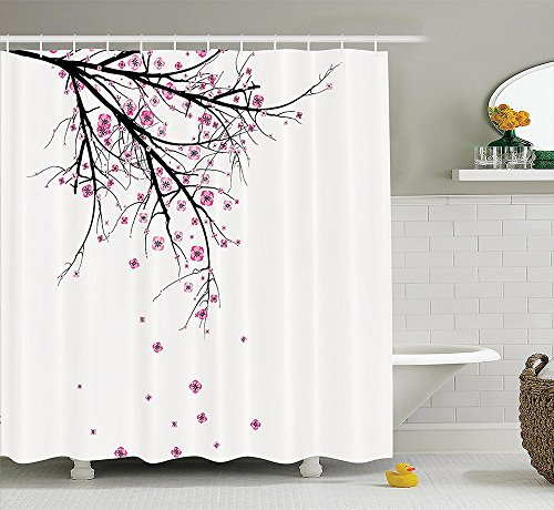 [House Decor Collection Cherry Blossoming Falling Petals Flowers Springtime Park Simple Illustration Print Polyester Fabric Bathroom Shower Curtain Set with Hooks Pink] (Dr Gregory House Costume)