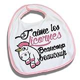 Bavoir-rose-Licence-officielle-Jaime-les-licornes-beaucoup-beaucoup-Kawaii-et-Chibi-Fabriqu-en-France-Chamalow-Shop
