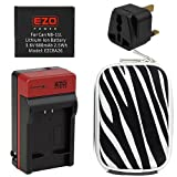 EZOPower NB-11L Battery + Charger + UK Plug + Silver Zebra Compact Case for Canon PowerShot A3500 IS , A3500 ,A2500, A2600, A2300, A2400 IS, A3400 IS, A4000 IS, IXUS 132, IXUS 140, IXUS 265 HS, IXUS 240 HS, IXUS 125 HS Digital Camera