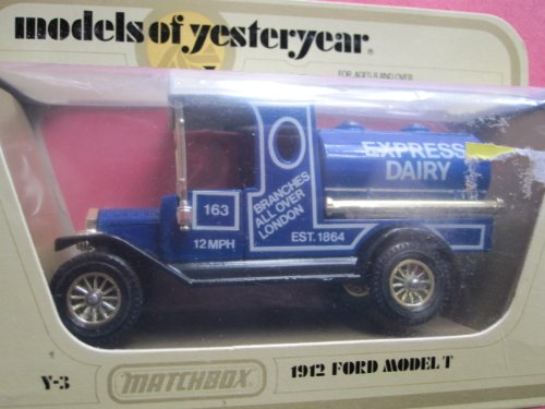 1912 Ford Model T Tanker (blue/gold wheels) Express Dairy Logo Matchbox Model of Yesteryear Y-3 Lesney issued 1978 - 1
