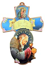 Saint St San Pio da Pietrelcina with Our Lady of Perpetual Help 6 Inch Wood Wall Cross