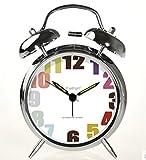 ツインベル常夜燈 目覚まし時計 バックライト付き 金属製時計 大音量 アナログ 連続秒針 音がしない 4インチ カッパー 靑春版で