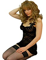 Yummy Bee Lingerie Babydoll Dress Set Underwired + Lace Stockings Plus Size 8 - 24